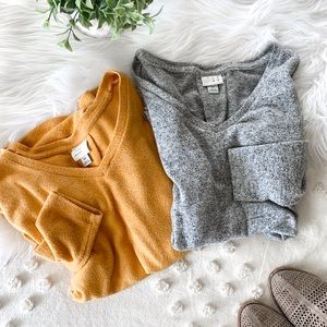 Two V Neck Sweaters (Mustard + Heather Gray)